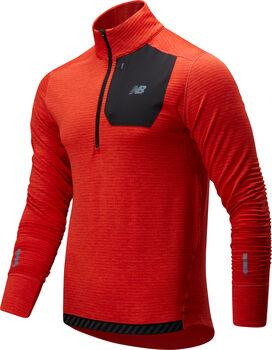 New Balance Heat Quarter Zip Laufshirt langarm Herren Rot