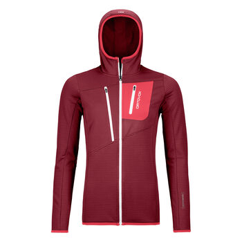 ORTOVOX FLEECE GRID HOODY Fleecejacke Damen Rot