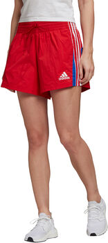 adidas Colorblocked 3 Stripes Pique Fitnessshorts Damen Rot