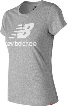 New Balance Essentials Stacked Logo T-Shirt Damen Grau
