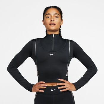 Nike PRO HyperWarm 1/2 Zip Sweatshirt Damen Schwarz